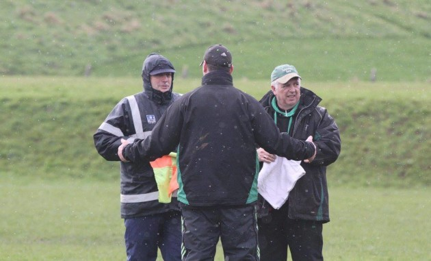 The Three Wise Men, Head coachDenis Leamy explains tactics to Director of Rugby Timmy Normile and Team Manager Joe Winston