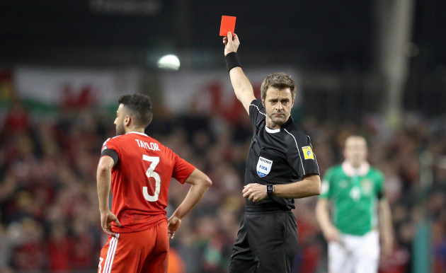 Neil Taylor is sent off Referee Nicola Rizzoli