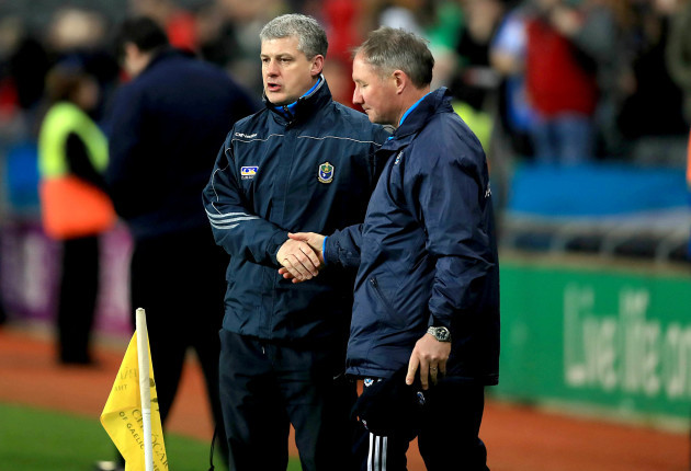 Jim Gavin and Kevin McStay at the end of the game