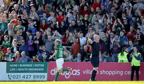 Karl Sheppard celebrates scoring his sides second goal
