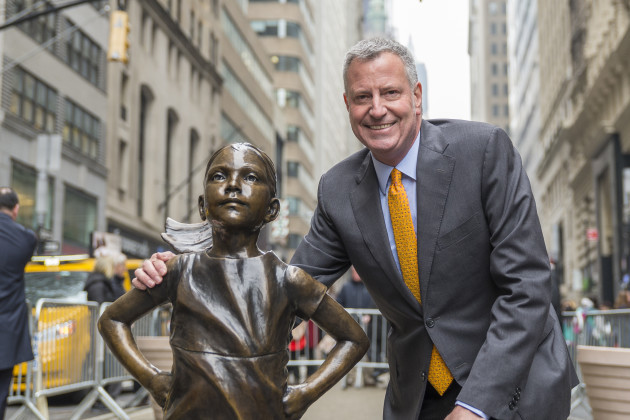 NY: NYC Mayor De Blasio holds press conference and photo-op with Fearless Girl sculpture