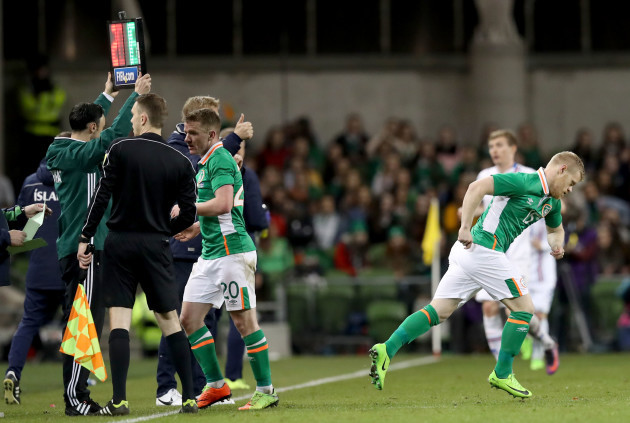 Daryl Horgan comes on for Jonny Hayes