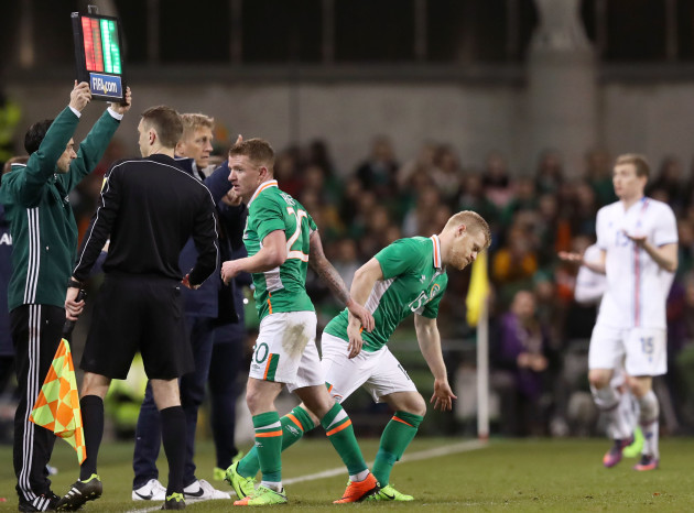 Daryl Horgan comes on to make his debut