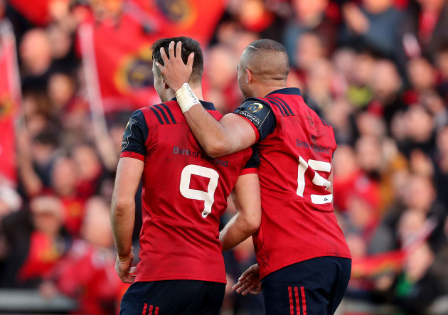 Simon Zebo celebrates scoring their first try with Conor Murray