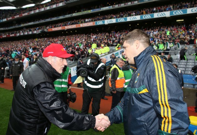 Mickey Harte and Eamonn Fitzmaurice at the end of the game