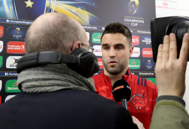 Conor Murray is interviews before the game by Sky Sports