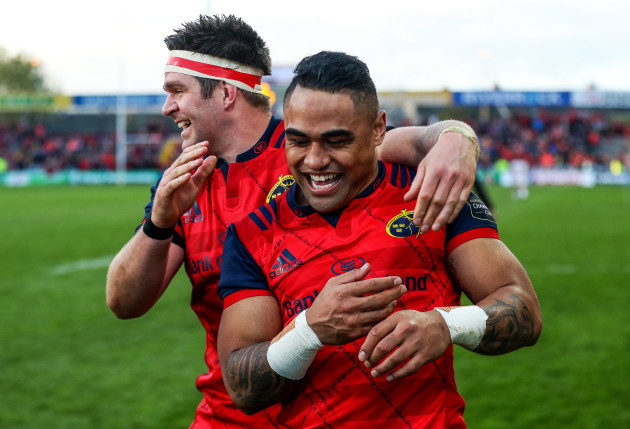 Billy Holland celebrates with Francis Saili after the game