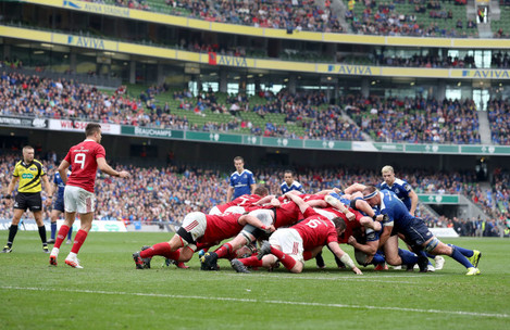 A view of a scrum during the game