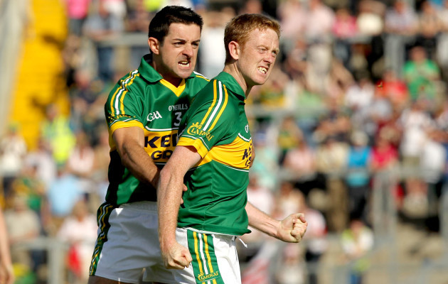 Aidan O'Mahony celebrates a point with Colm Cooper