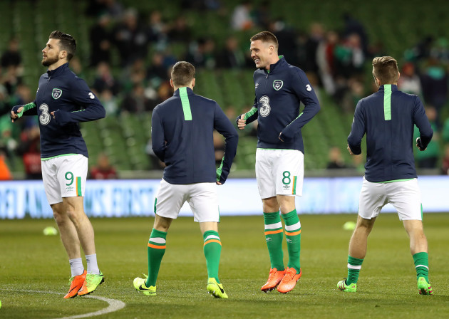Shane Long and James McCarthy during the warm up