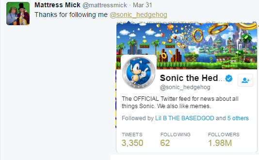 he thanks sonic the hedgehog