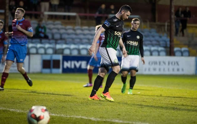 Bray Wanderers' Ryan Brennan reacts after missing a penalty