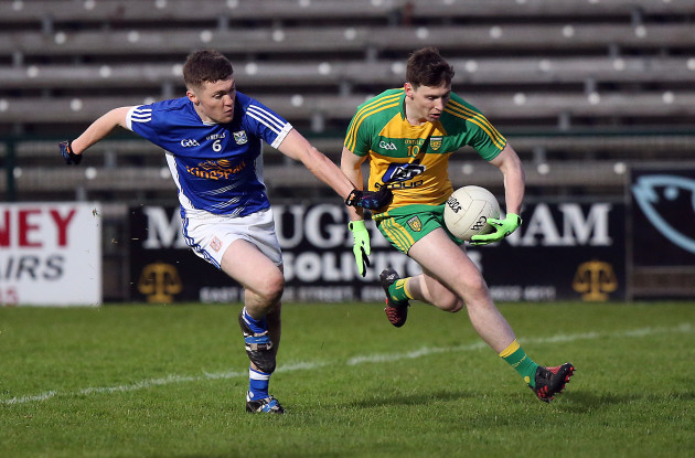 Donegal's Jamie Brennan with Eoin Sommerville of Cavan