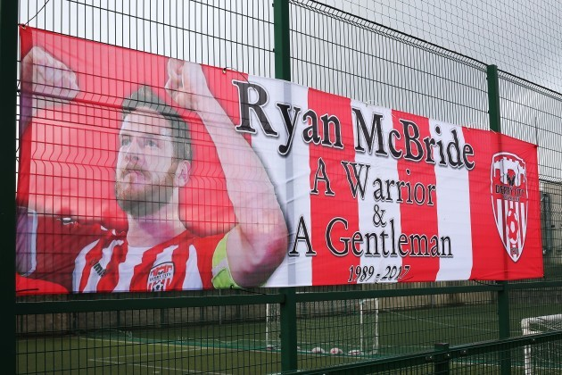 A banner in tribute to late Derry City captain Ryan McBride