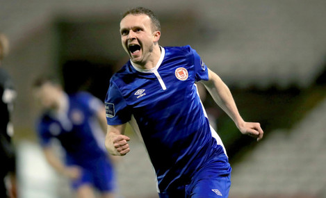 Conan Byrne celebrates scoring his second goal of the game