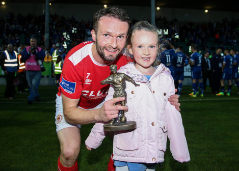 Conan Byrne wins Man of The Match and celebrates with his Daughter Kayla (aged 6)