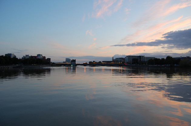 Limerick City on the River Shannon at sunset.