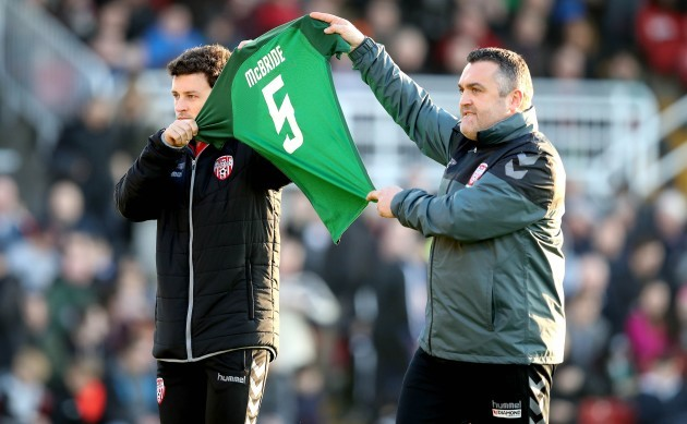 Barry McNamee after being presented with a Cork City jersey with Ryan McBride on the back