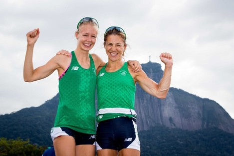 Claire Lambe and Sinead Lynch celebrate qualifying for tomorrow's final