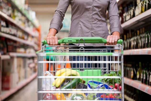 supermarket-trolley-groceries stock