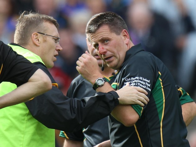 Brian Gavin gets repairs after being accidently hit by Tommy Walsh