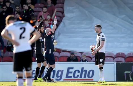 Ciaran Kilduff is sent off by Referee Robert Rogers