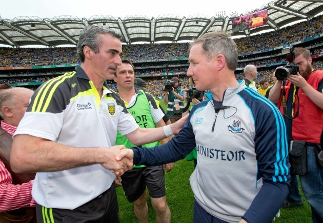 Jim McGuinness shakes hands with Jim Gavin after the game