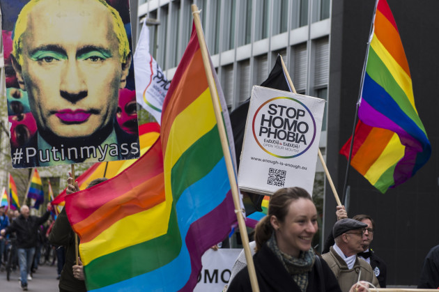 LGBT ativists rally in front of Russian Embassy