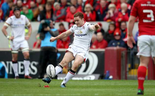 Paddy Jackson kicks a penalty