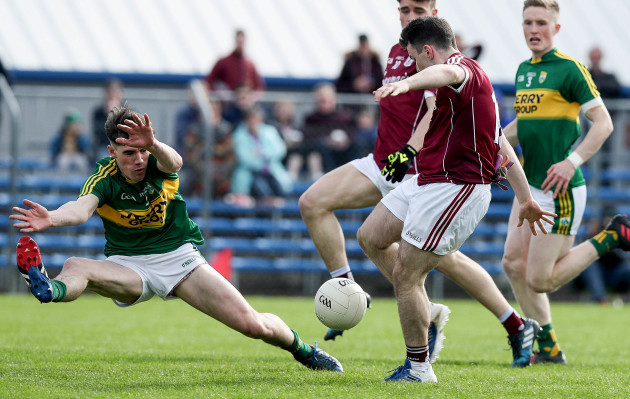 Dessie Connolly scores the first goal of the game despite the effort's of Tom Leo O'Sullivan