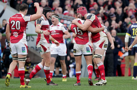 Ulster players celebrate the final whistle
