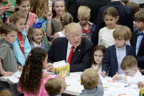 DC: US President Donald Trump and First Lady Melania Trump Attend the Annual White House Easter Egg Roll