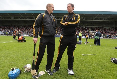 Henry Shefflin and Michael Fennelly on the pitch before the game