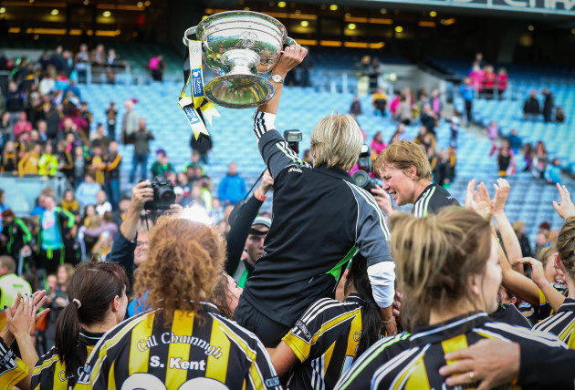 Ann Downey celebrates with The O'Duffy Cup