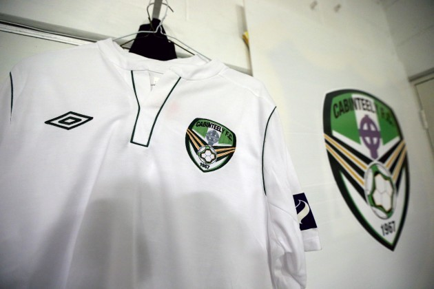 Cabinteely jersey hanging in home dressing room