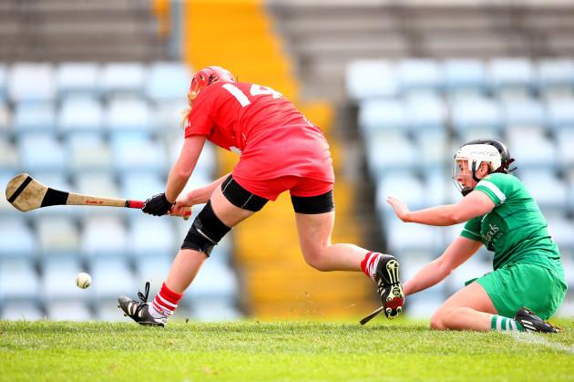 Niamh McCarthy scores a goal