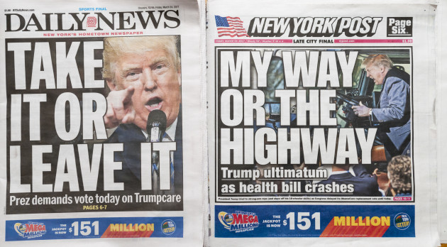 NY: New York newspapers report on Trump Obamacare ultimatum