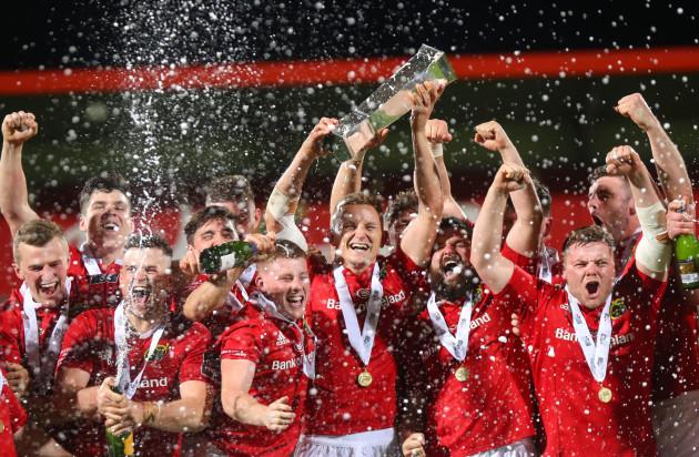 Cian Bohane lifts the British  Irish Cup