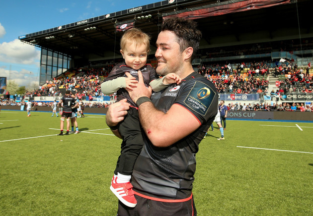 Brad Barritt with his son Leo after the game