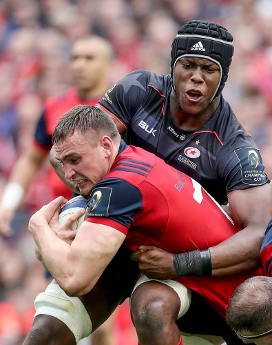 Tommy O'Donnell tackled by Maro Itoje