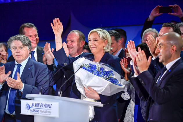 FRANCE-HENIN-BEAUMONT-PRESIDENTIAL ELECTION-FIRST ROUND-LE PEN-CELEBRATION