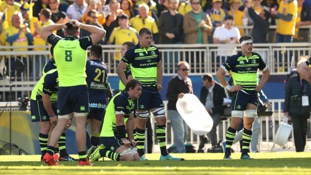 Ross Molony, Rhys Ruddock and Josh van der Flier dejected after the game
