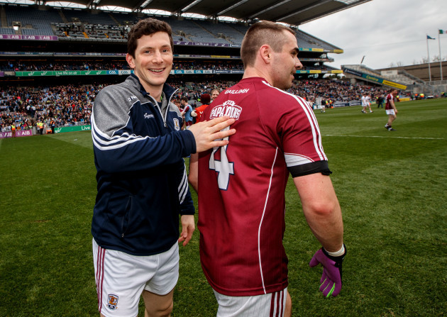 Michael Meehan celebrates with Cathal Sweeney