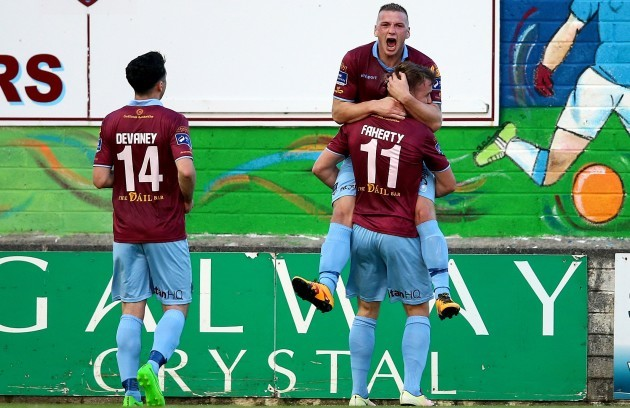 Vinny Faherty scores and celebrates with Stephen Walsh