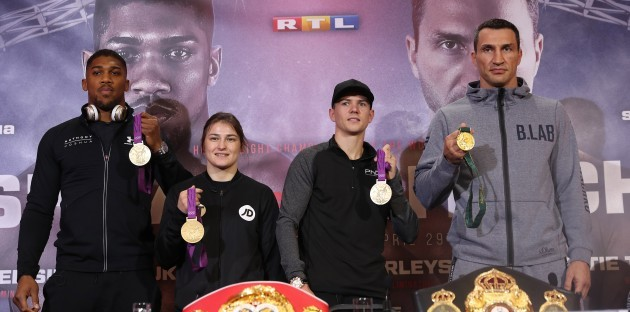 Anthony Joshua, Katie Taylor, Luke Campbell and Wladimir Klitschko with their Olympic medals
