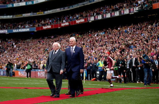 President Michael D Higgins and GAA President Aogan O' Fearghail