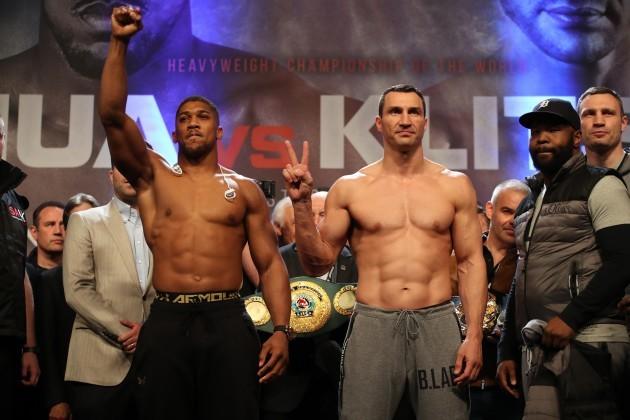 Anthony Joshua v Wladimir Klitschko Weigh In - Wembley Arena