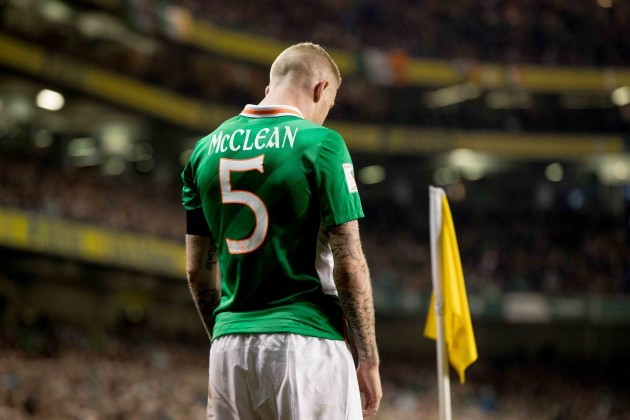 James McClean wearing the number 5 shirt in memory of Derry City captain Ryan McBride