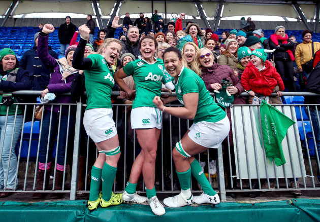 Claire Molly, Larissa Muldoon and Sophie Spence celebrate after the game