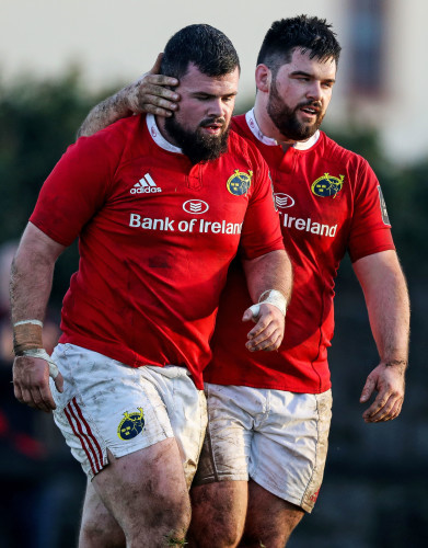 Rory Burke celebrates scoring a try with Kevin O'Byrne